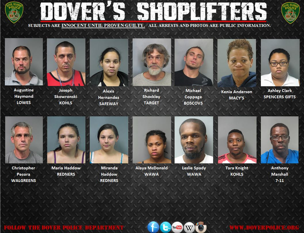 weekly shoplifting notification 7 16 15 7 23 15 city of dover police department. Black Bedroom Furniture Sets. Home Design Ideas